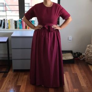 Boutique - maroon polyester maxi dress